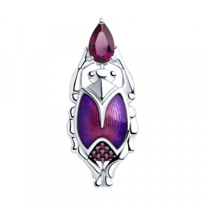925 Sterling Silver brooches with enamel and corundum