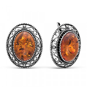 925 Sterling Silver pair earrings with synthetic amber and synthetic coral
