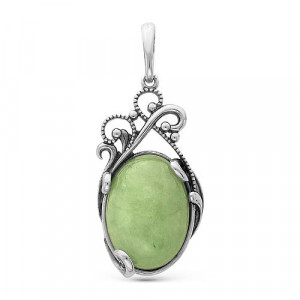 925 Sterling Silver pendants with pearl and synthetic jade