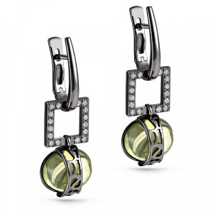 925 Sterling Silver pair earrings with ceramics and sitall