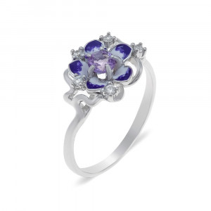 925 Sterling Silver women's ring with amethyst and garnet