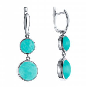 925 Sterling Silver pair earrings with synthetic aquamarine