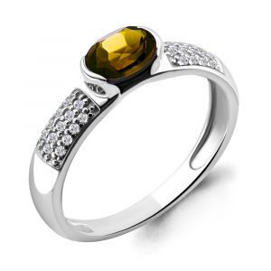 925 Sterling Silver women's rings with cubic zirconia and citrine