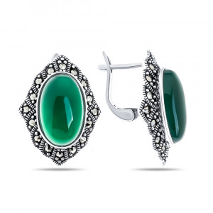 925 Sterling Silver pair earrings with  and green agate