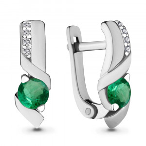 925 Sterling Silver pair earrings with cubic zirconia and nano emerald