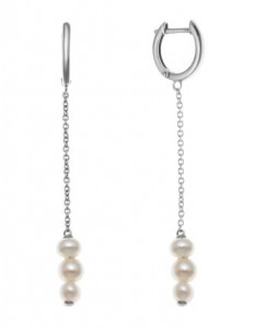 925 Sterling Silver pair earrings with pearl cult.