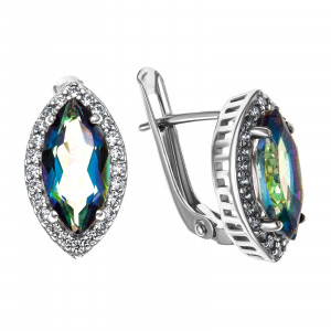 925 Sterling Silver pair earrings with mystic quartz