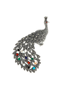 925 Sterling Silver brooches with synthetic carnelian and synthetic lapis