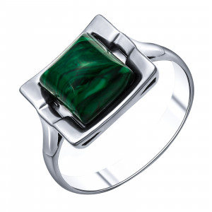 925 Sterling Silver women's rings with synthetic malachite and malachite