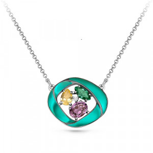 925 Sterling Silver necklaces with cubic zirconia and sitall