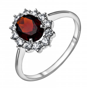 925 Sterling Silver women's rings with  and garnet