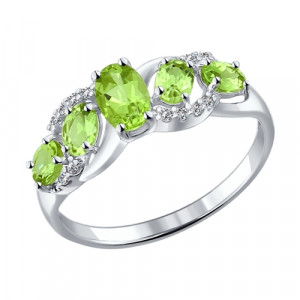 925 Sterling Silver women's rings with chrysolite and cubic zirconia