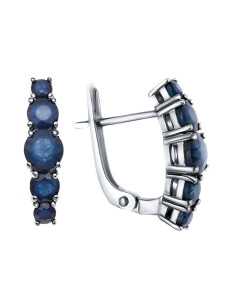 925 Sterling Silver pair earrings with sapphire and corundum
