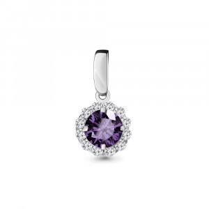 925 Sterling Silver pendants with cubic zirconia and amethyst