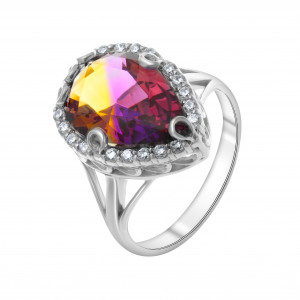 925 Sterling Silver women's rings with quartz pl. amethyst and cubic zirconia