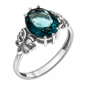 925 Sterling Silver women's rings with quartz pl. london topaz