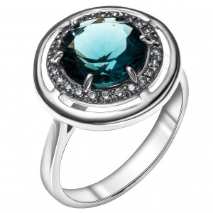 925 Sterling Silver women's rings with quartz pl. london topaz and cubic zirconia