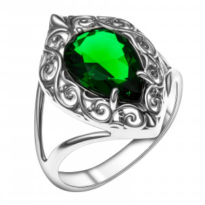 925 Sterling Silver women's rings with quartz pl. emerald