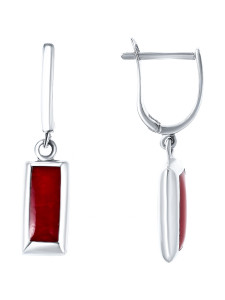 925 Sterling Silver pair earrings with coral and mother of pearl