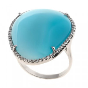 925 Sterling Silver women's ring with cat's eye and glass