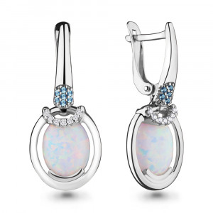 925 Sterling Silver pair earrings with cubic zirconia and nano topaz