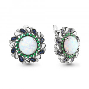 925 Sterling Silver pair earrings with synthetic white opal and synthetic opal