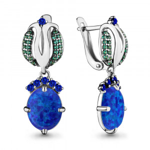 925 Sterling Silver pair earrings with nano emerald and synthetic blue opal