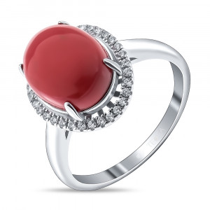 925 Sterling Silver women's ring with synthetic coral