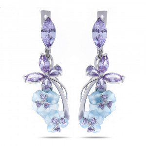 925 Sterling Silver pair earrings with quartz and cubic zirconia