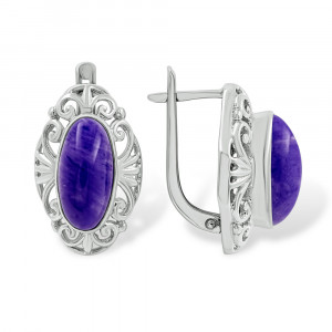 925 Sterling Silver pair earrings with charoite