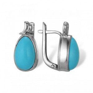 925 Sterling Silver pair earrings with turquoise