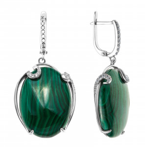925 Sterling Silver pair earrings with quartz and chrysoprase
