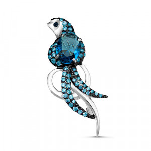 925 Sterling Silver brooches with  and london topaz