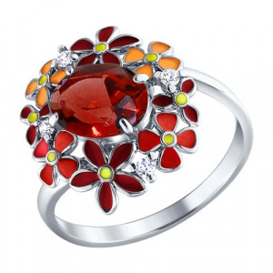 925 Sterling Silver women's rings with cubic zirconia and garnet