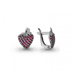 925 Sterling Silver pair earrings with corundum and synthetic corundum