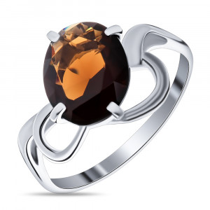 925 Sterling Silver women's ring with garnet and topaz