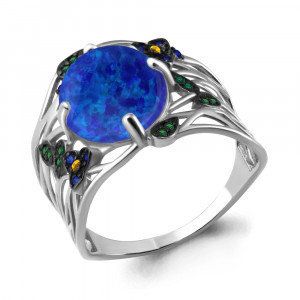 925 Sterling Silver women's rings with synthetic blue opal and nano citrine
