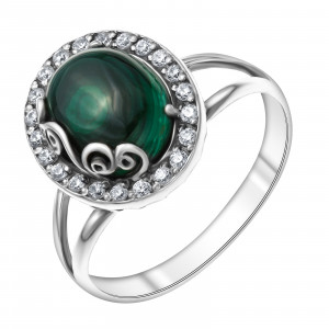 925 Sterling Silver women's rings with malachite and cubic zirconia