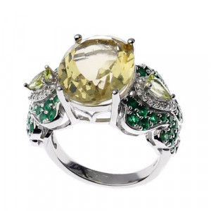 925 Sterling Silver women's ring with chrysolite and yellow quartz