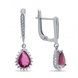 925 Sterling Silver pair earrings with rubin and