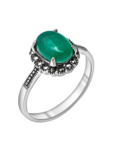 925 Sterling Silver women's rings with synthetic green agate and marcasite