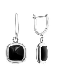 925 Sterling Silver pair earrings with onyx and mother of pearl