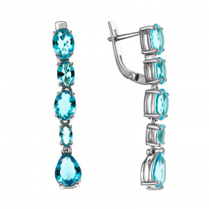 925 Sterling Silver pair earrings with quartz pl. topaz