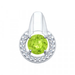 925 Sterling Silver pendants with chrysolite and cubic zirconia
