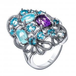 925 Sterling Silver women's ring with quartz and amethyst