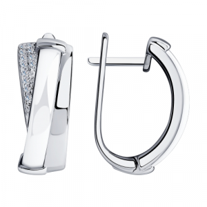 925 Sterling Silver pair earrings with ceramics and cubic zirconia