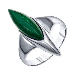 925 Sterling Silver women's rings with synthetic malachite