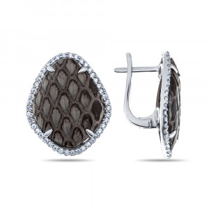 925 Sterling Silver pair earrings with python skin