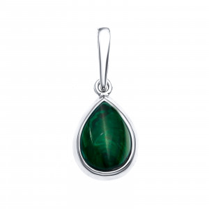 925 Sterling Silver pendants with synthetic malachite and malachite