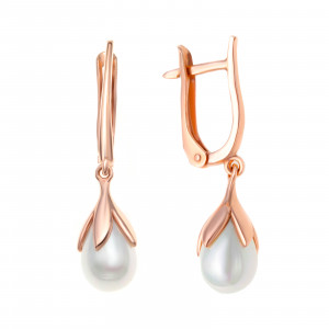 925 Sterling Silver pair earrings with pearl imit. and pearl cult.
